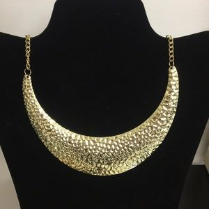 Half moon gold color plated necklace